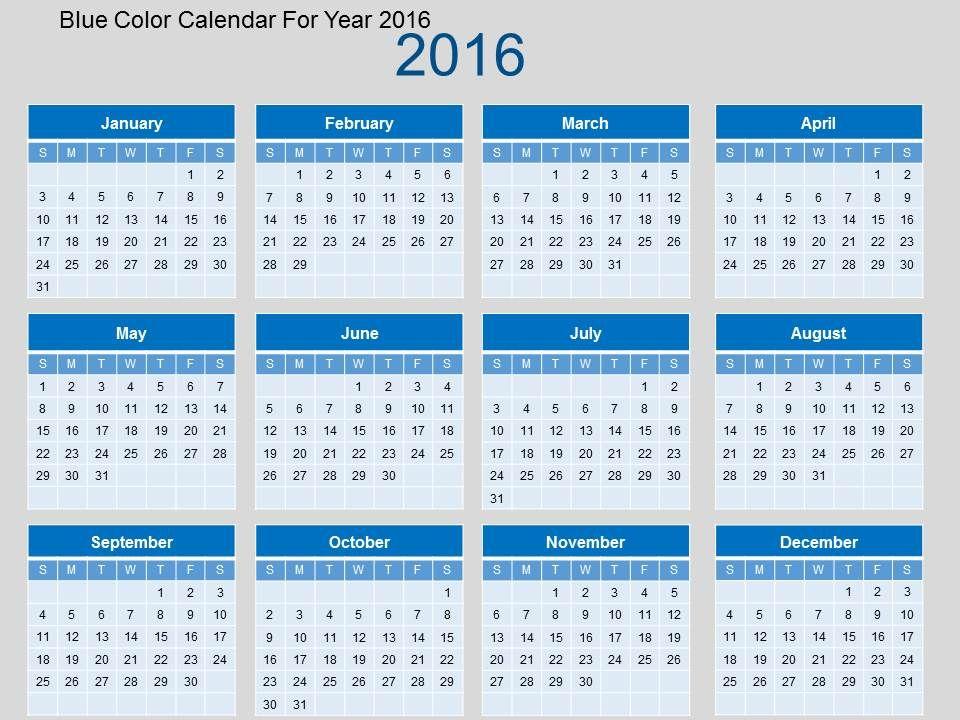 blue_color_calendar_for_year_2016_flat_powerpoint_design_Slide01