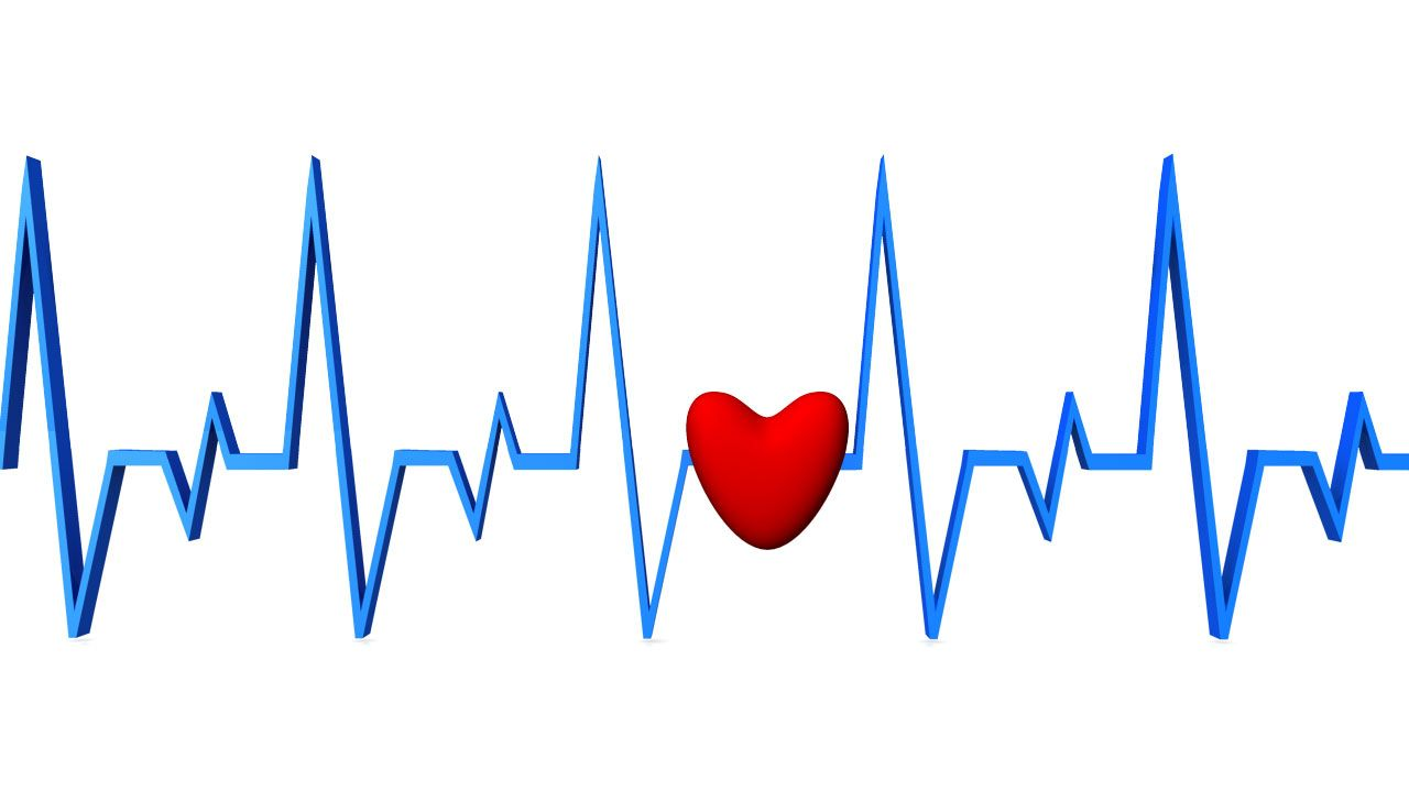 Blue Color ecg Graph With Red Heart Stock Photo ...