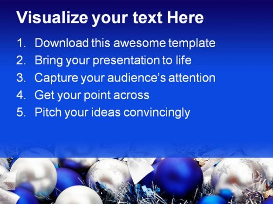 Blue Decorations Christmas Powerpoint Template 0610 | Powerpoint