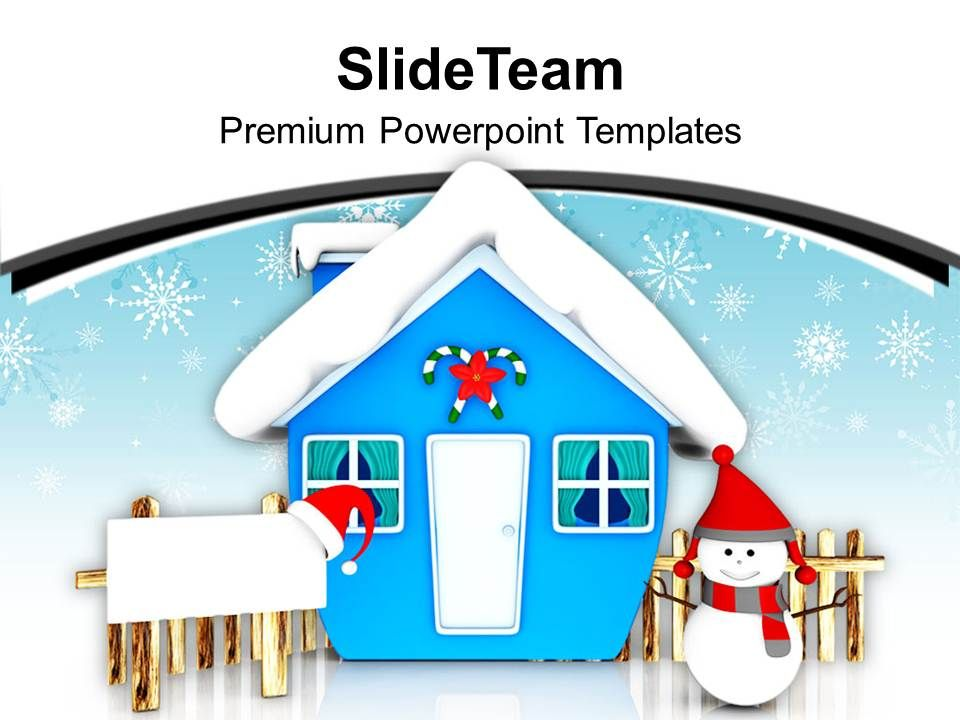 blue_hut_and_snowman_with_board_powerpoint_templates_ppt_backgrounds_for_slides_0113_Slide01