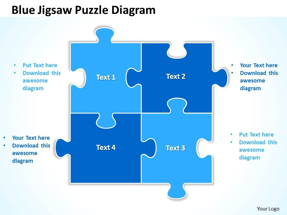 blue jigsaw puzzle diagram powerpoint templates ppt. Black Bedroom Furniture Sets. Home Design Ideas