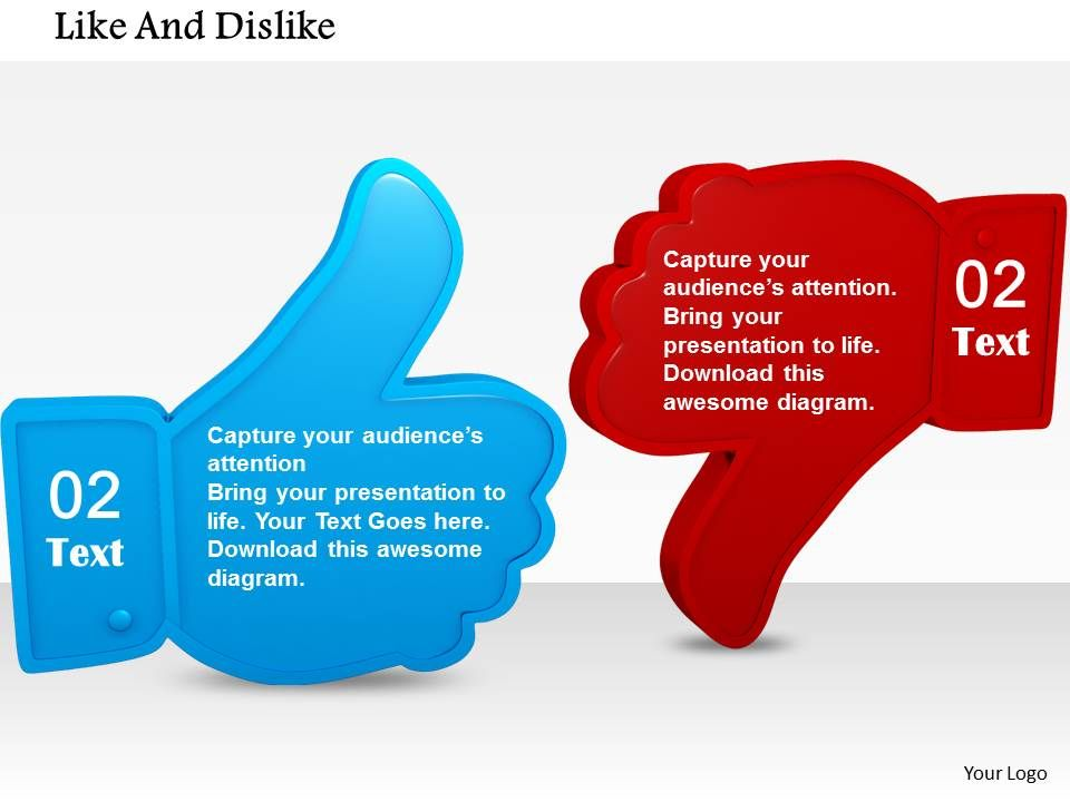 Blue Like And Red Dislike Symbols For Social Media Powerpoint