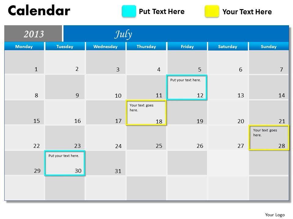 Weekly Calendar Powerpoint : Blue monthly calendar powerpoint slides ppt templates