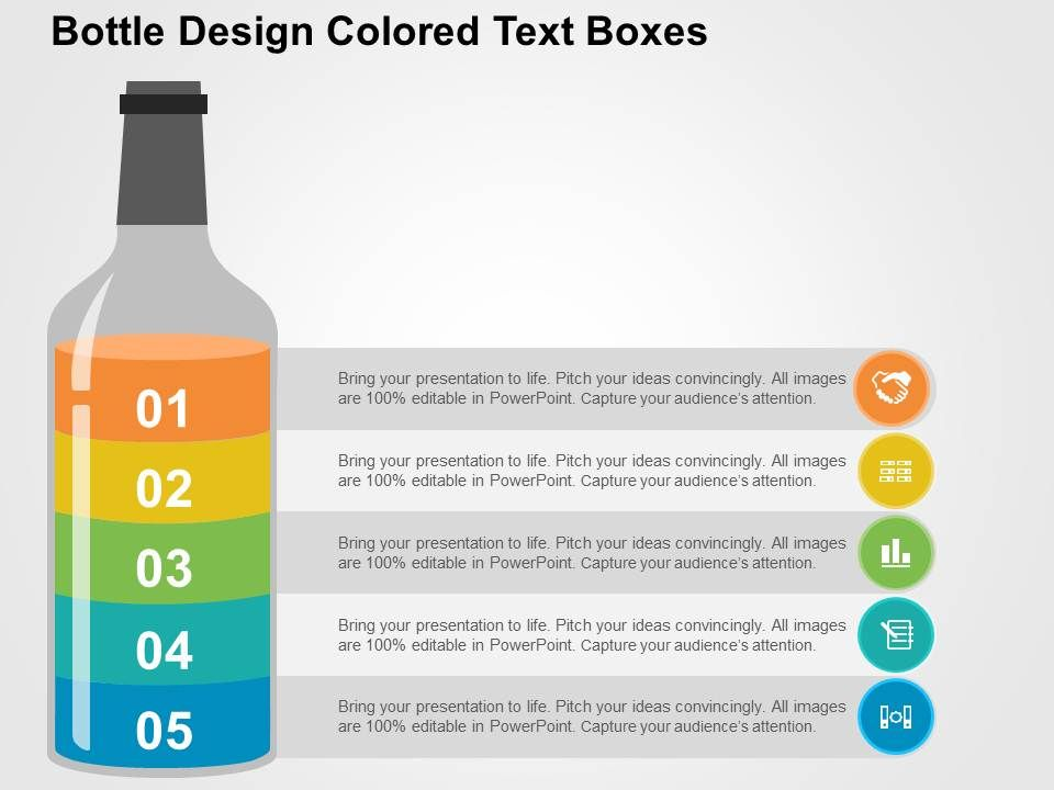 bottle design colored text boxes flat powerpoint design powerpoint