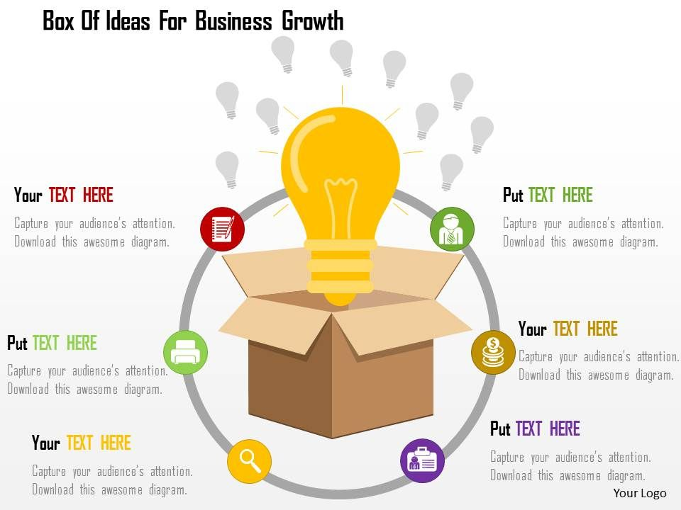 Box Of Ideas For Business Growth Flat Powerpoint Design ...