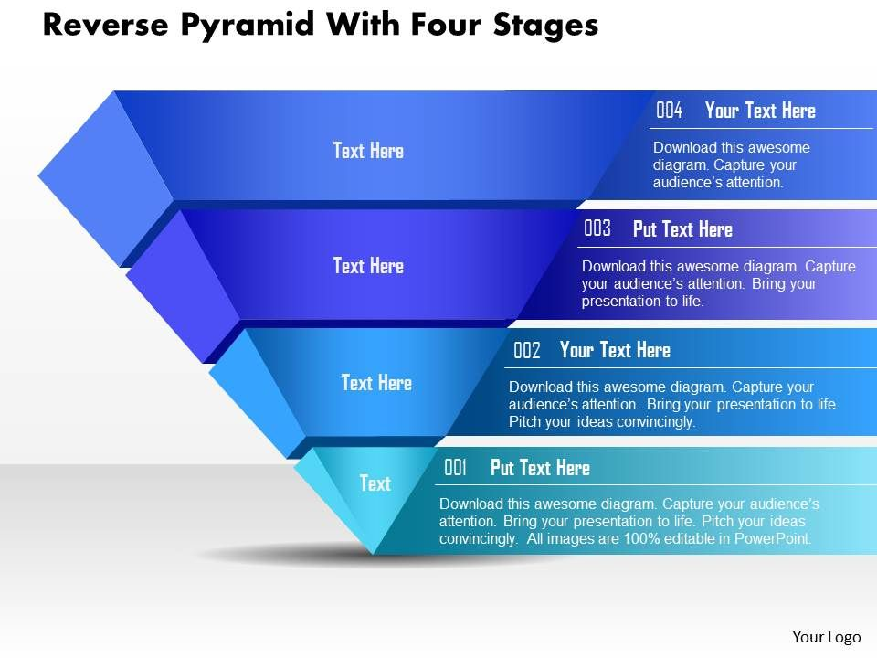 bp reverse pyramid with four stages powerpoint template, Powerpoint templates