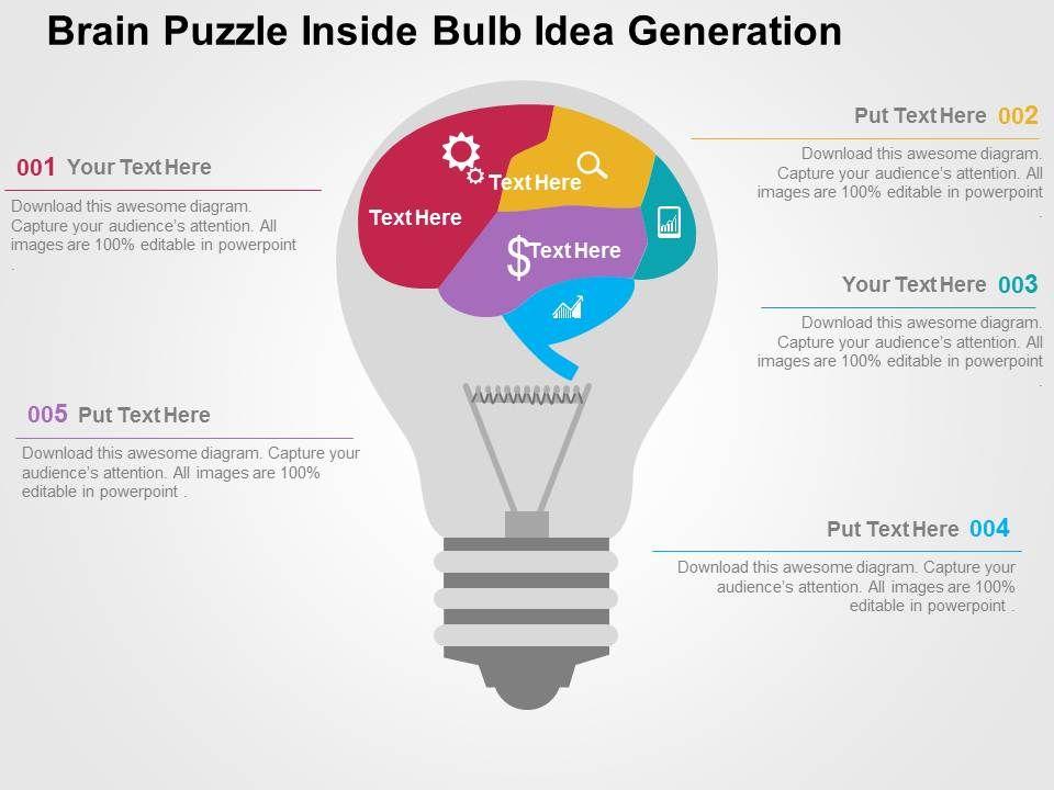 Brain Puzzle Inside Bulb Idea Generation Flat Powerpoint Design ...