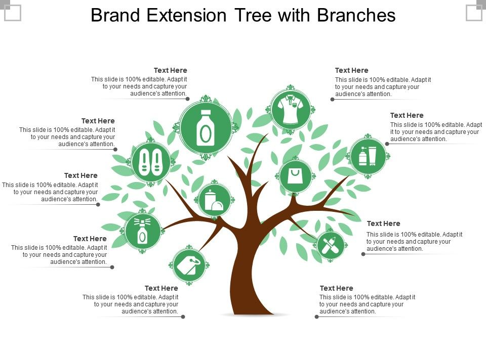 Brand Extension Tree With Branches Powerpoint Templates Download