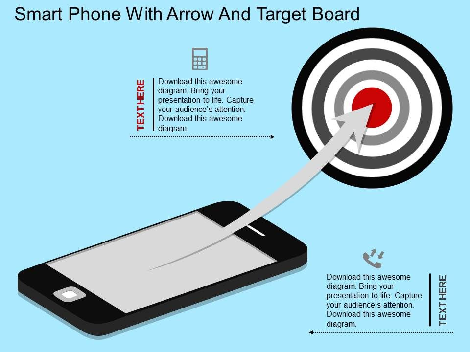 bt_smart_phone_with_arrow_and_target_board_flat_powerpoint_design_Slide01
