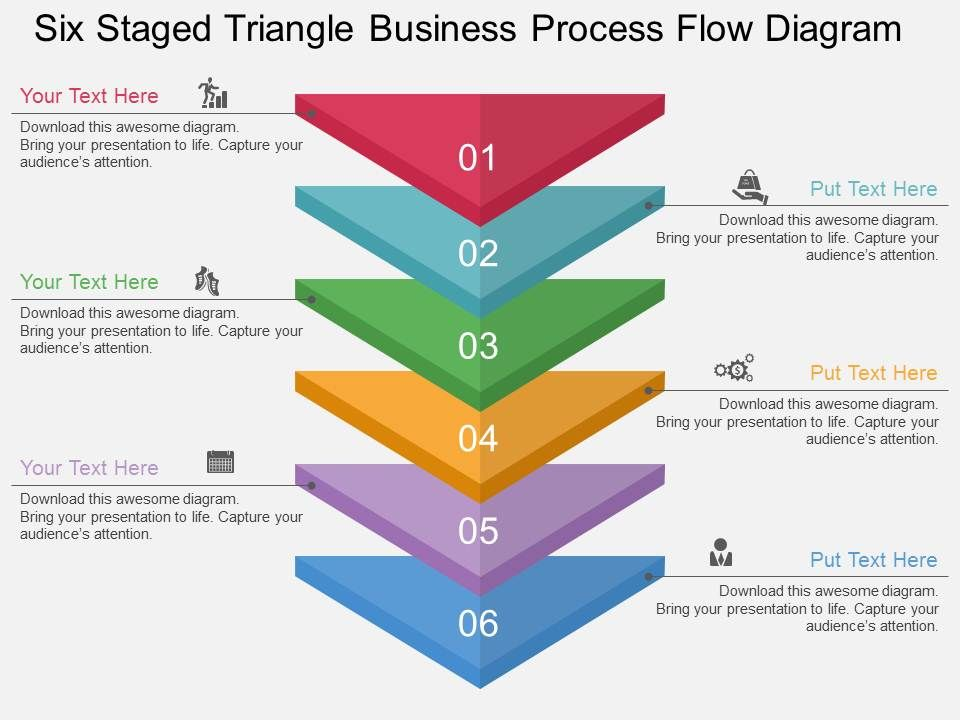 bu six staged triangle business process flow diagram flat powerpoint rh slideteam net sales process flow chart presentation Manufacturing Process Flow Diagram