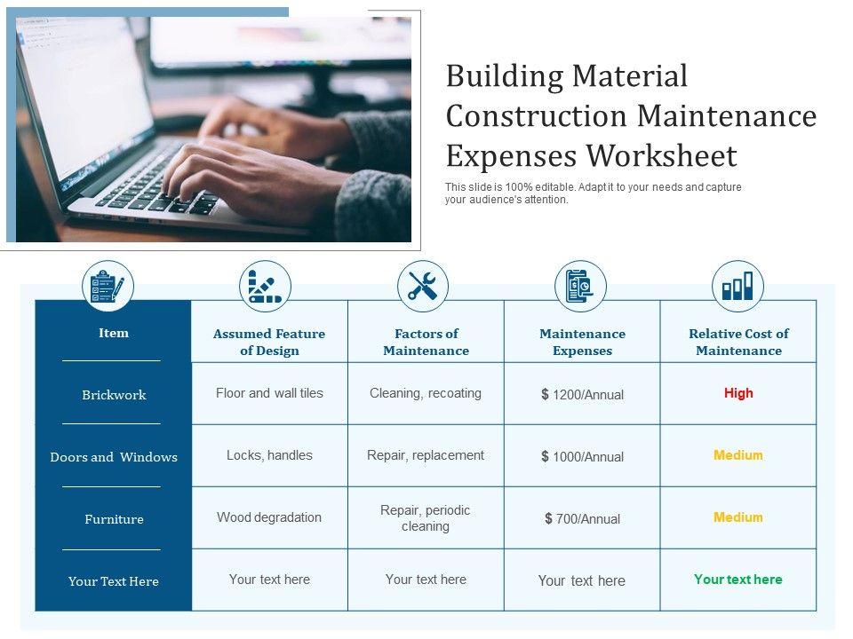 Building Material Construction Maintenance Expenses Worksheet