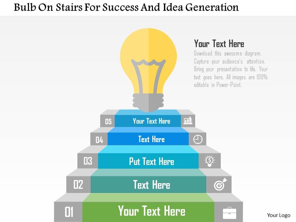 bulb_on_stairs_for_success_and_idea_generation_flat_powerpoint_design_Slide01