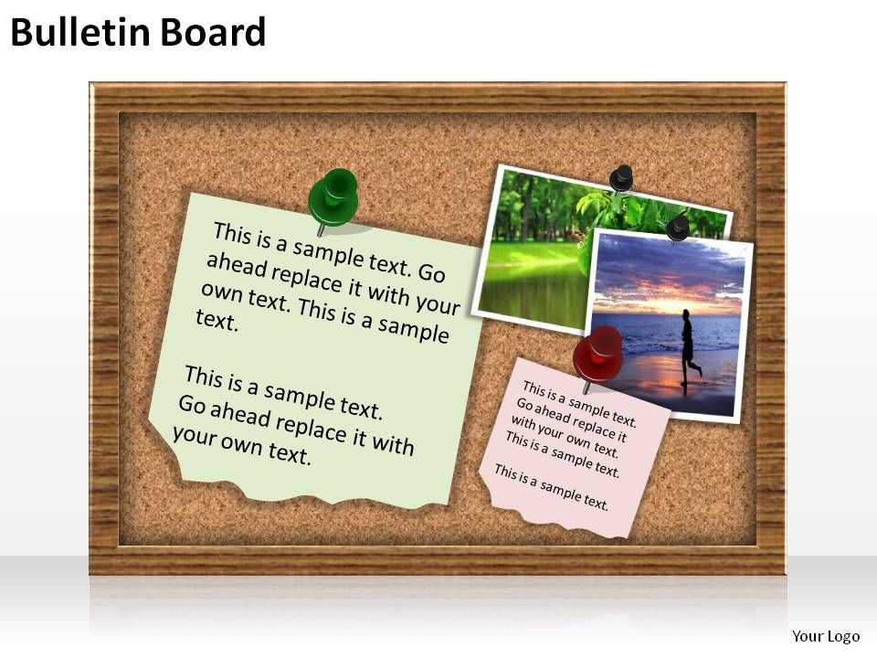 bulletin board with post its and pins slides presentation diagrams