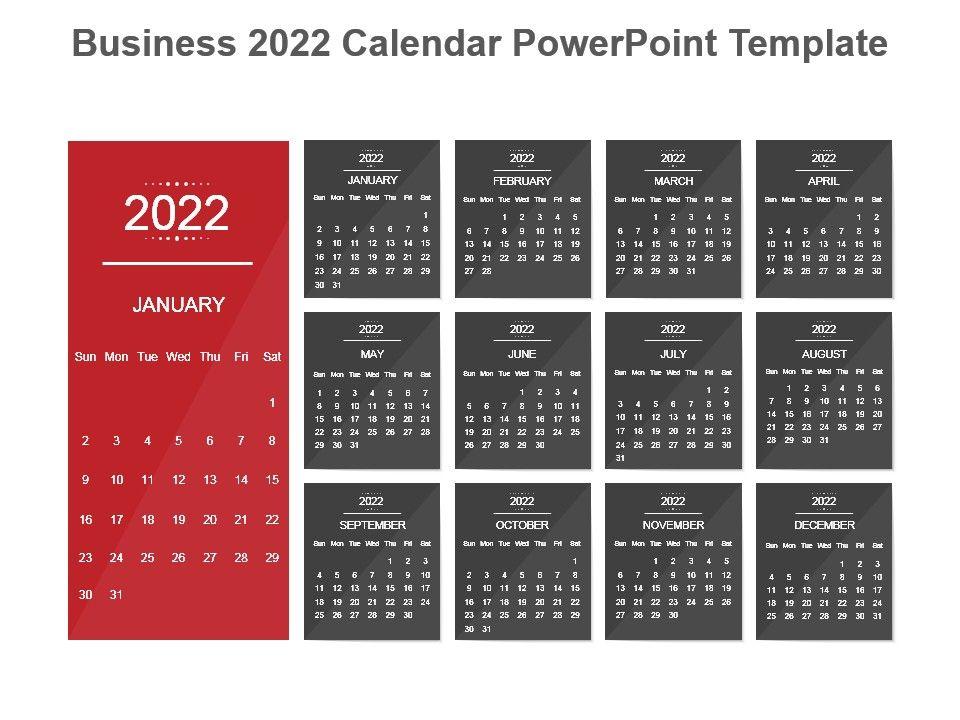 Powerpoint Calendar Template 2022.Business 2022 Calendar Powerpoint Template Template Presentation Sample Of Ppt Presentation Presentation Background Images