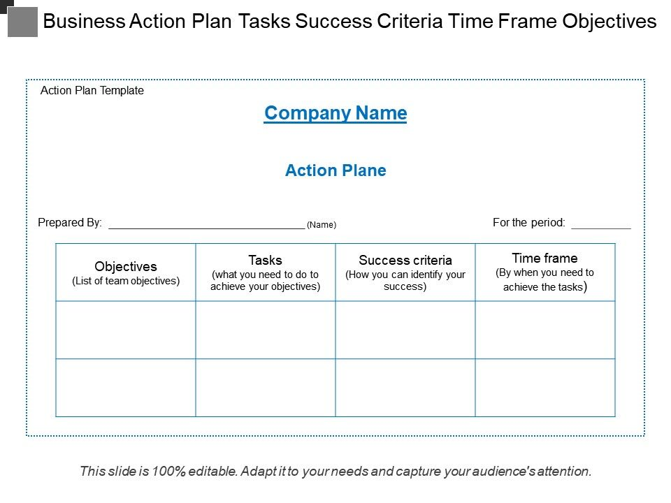 Business Action Plan Tasks Success Criteria Time Frame