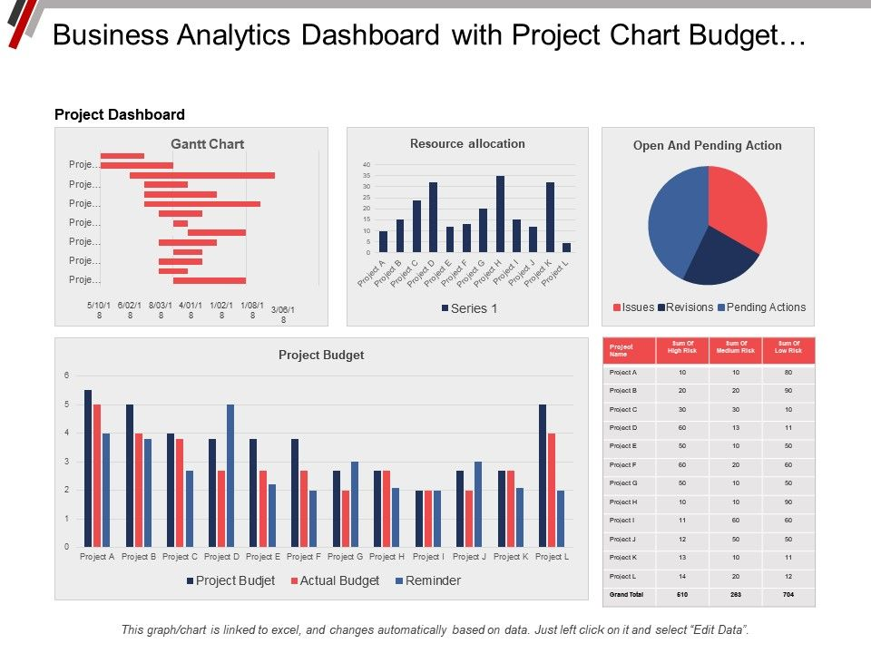 business analytics dashboard with project chart budget