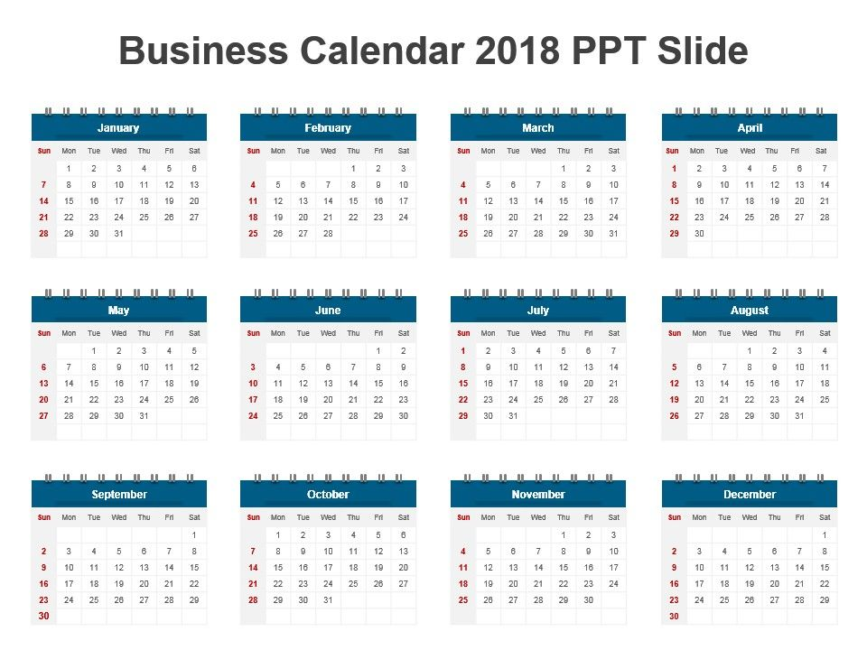 Corporate Calendar 2018 : Business calendar ppt slide powerpoint templates