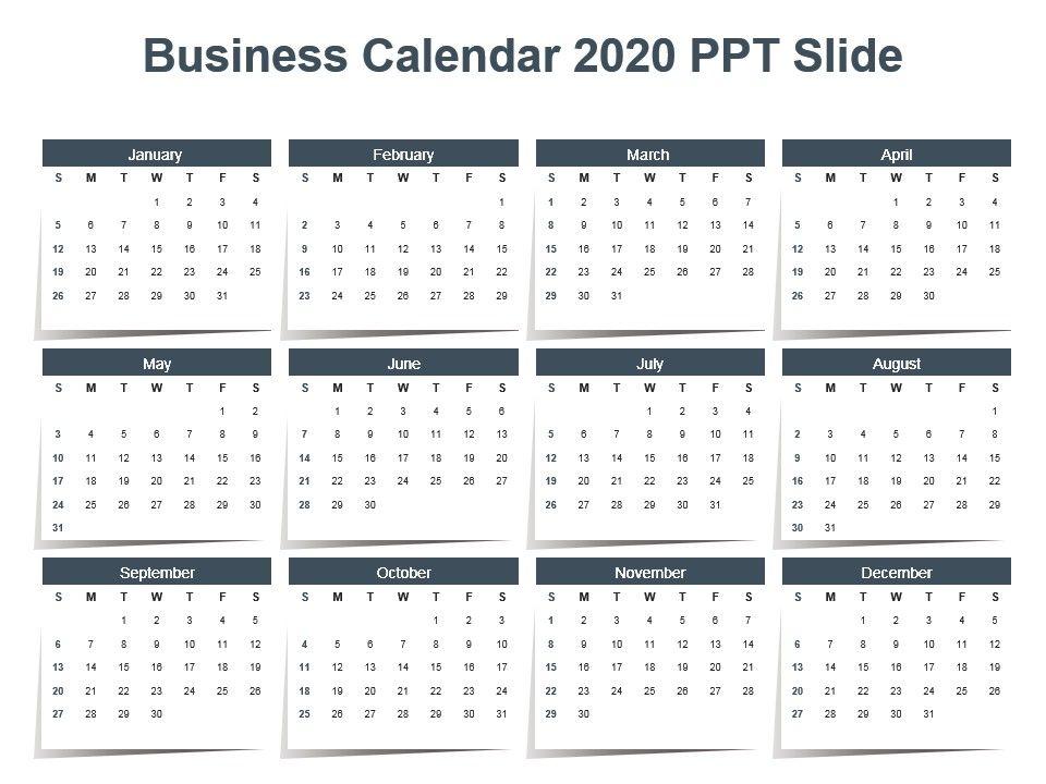 Powerpoint Calendar Template 2020 Business Calendar 2020 Ppt Slide | PowerPoint Design Template