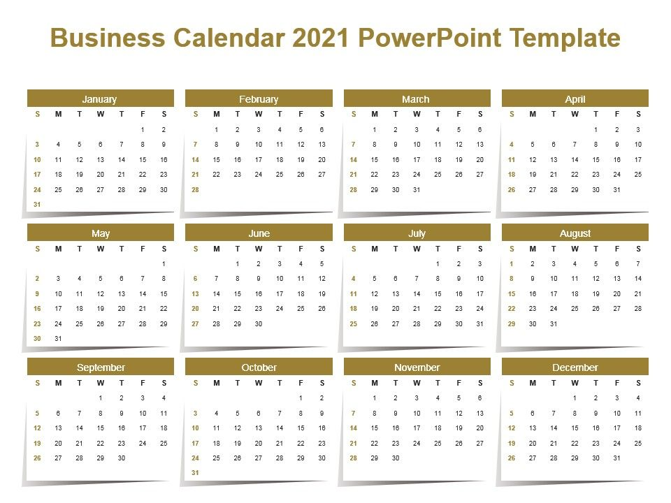 Business Calendar 2021 Powerpoint Template | Presentation Graphics