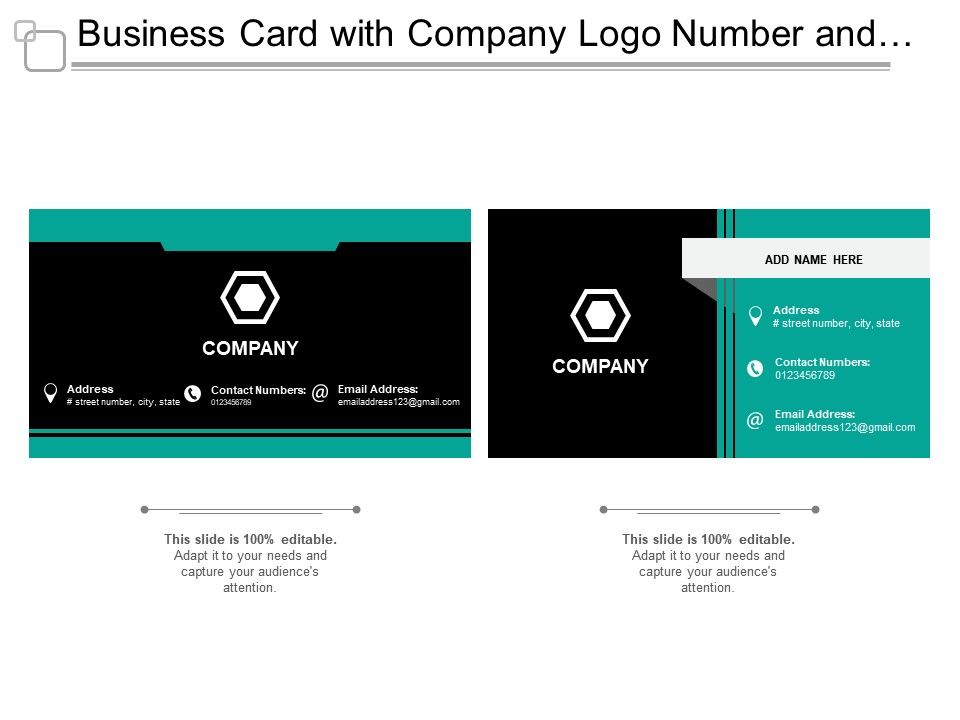 business card with company logo number and address