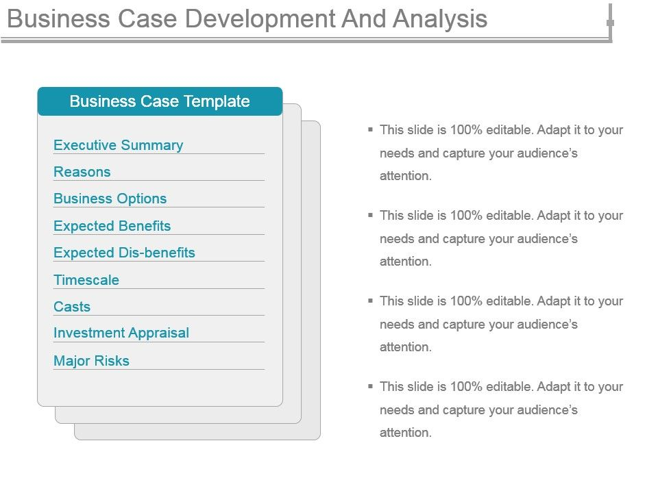 Business case development and analysis powerpoint for Presenting a business case template