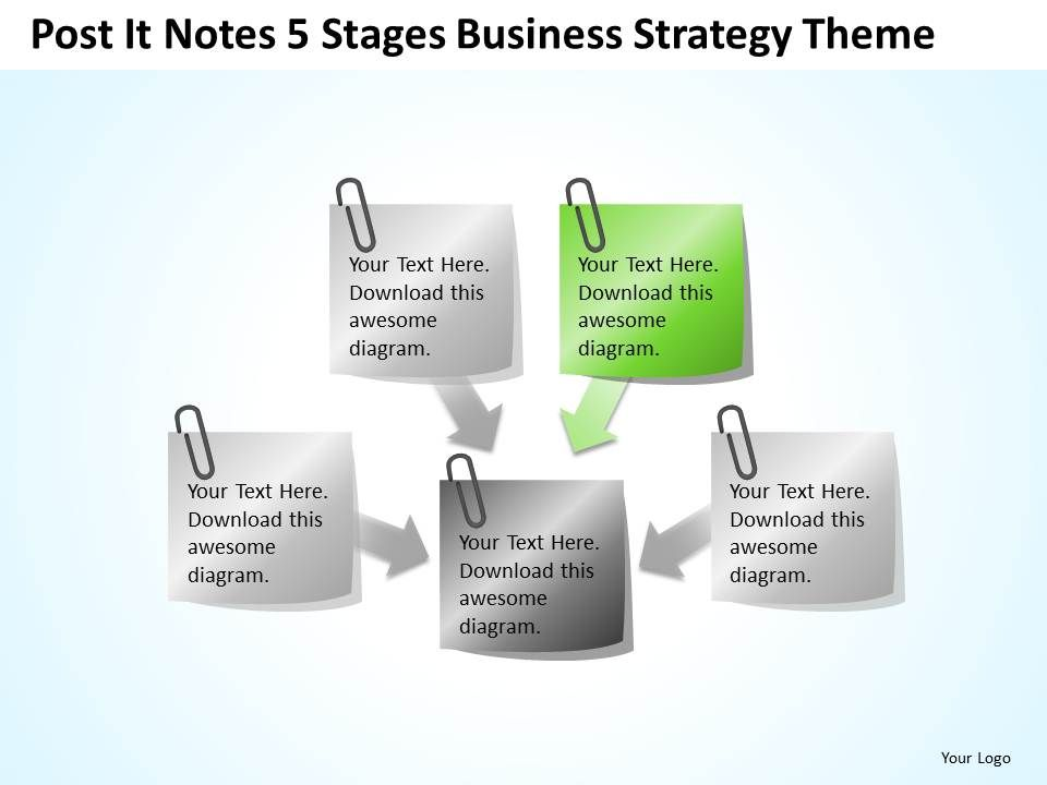 Business Context Diagram Post It Notes 5 Stages Strategy Theme ...