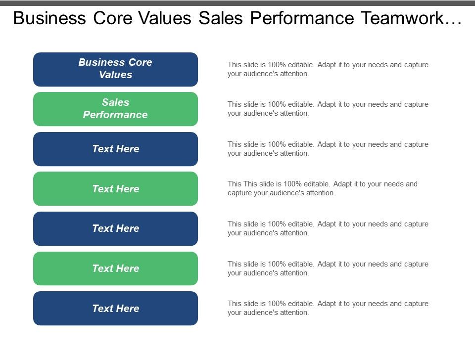 Business Core Values Sales Performance Teamwork Targeting Strategies Marketing Cpb Presentation Powerpoint Images Example Of Ppt Presentation Ppt Slide Layouts