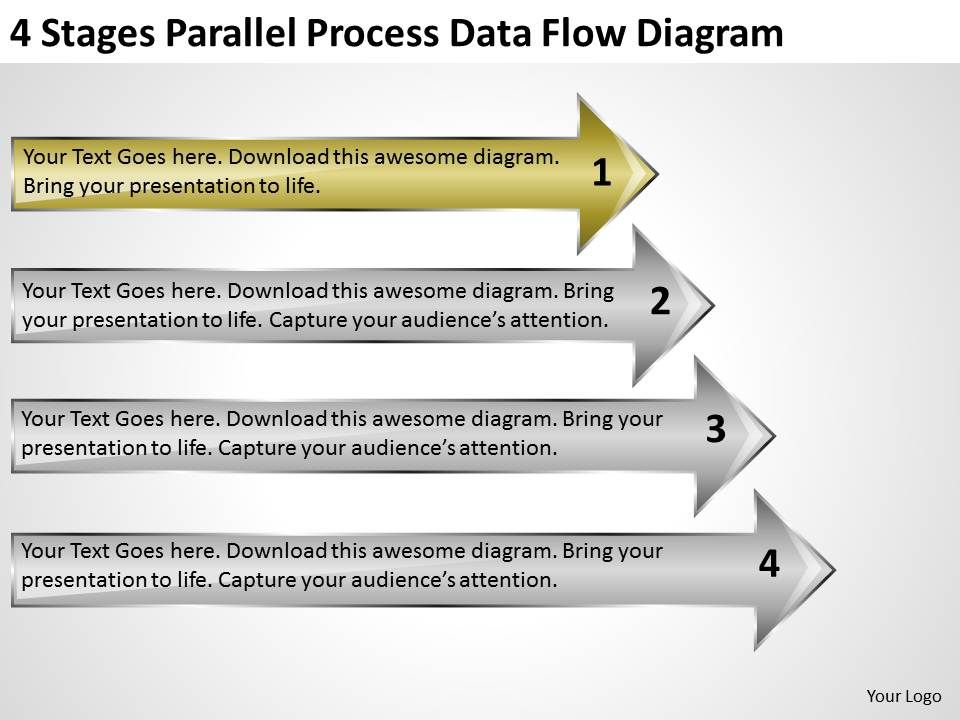 Business Cycle Diagram 4 Stages Parallel Process Data Flow