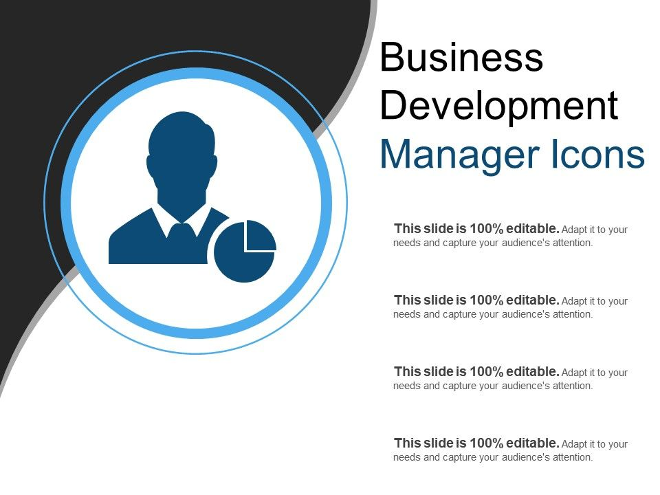 Business Development Manager Icons Template Presentation Sample Of Ppt Presentation Presentation Background Images