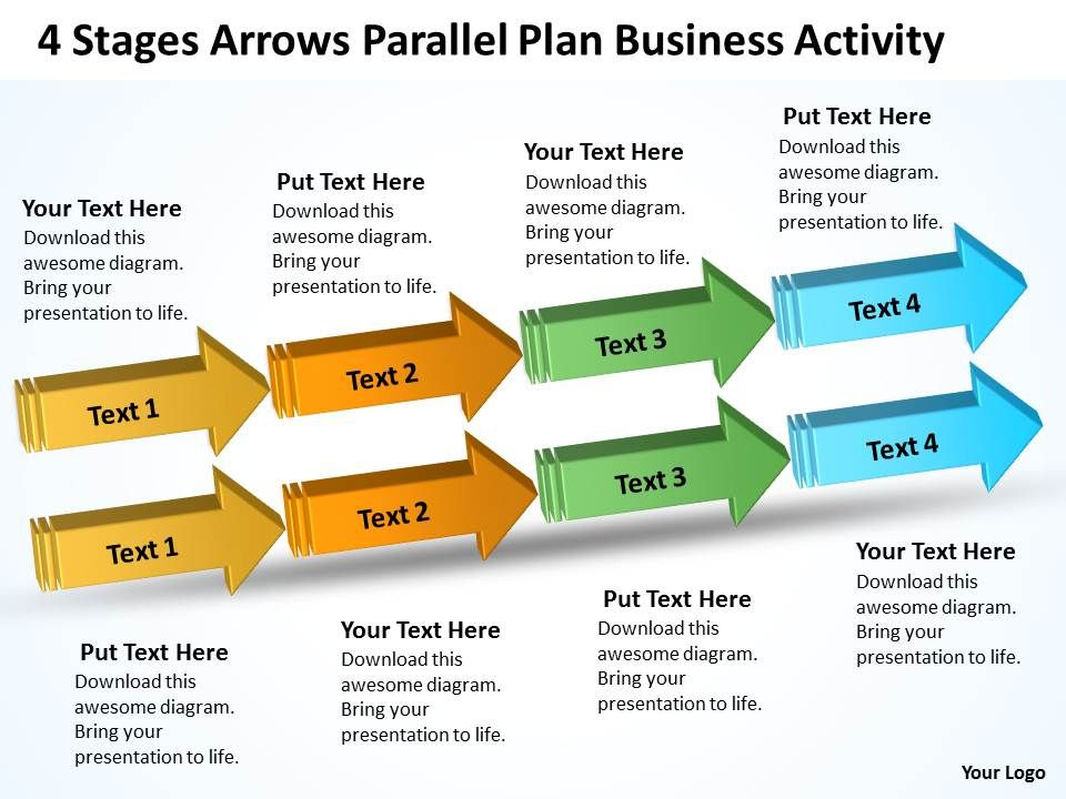 business_diagram_chart_4_stages_arrows_parallel_plan_activity_powerpoint_slides_Slide01