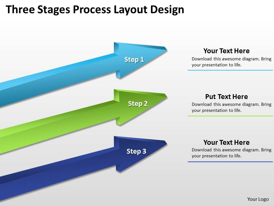 business diagram examples three stages process layout design