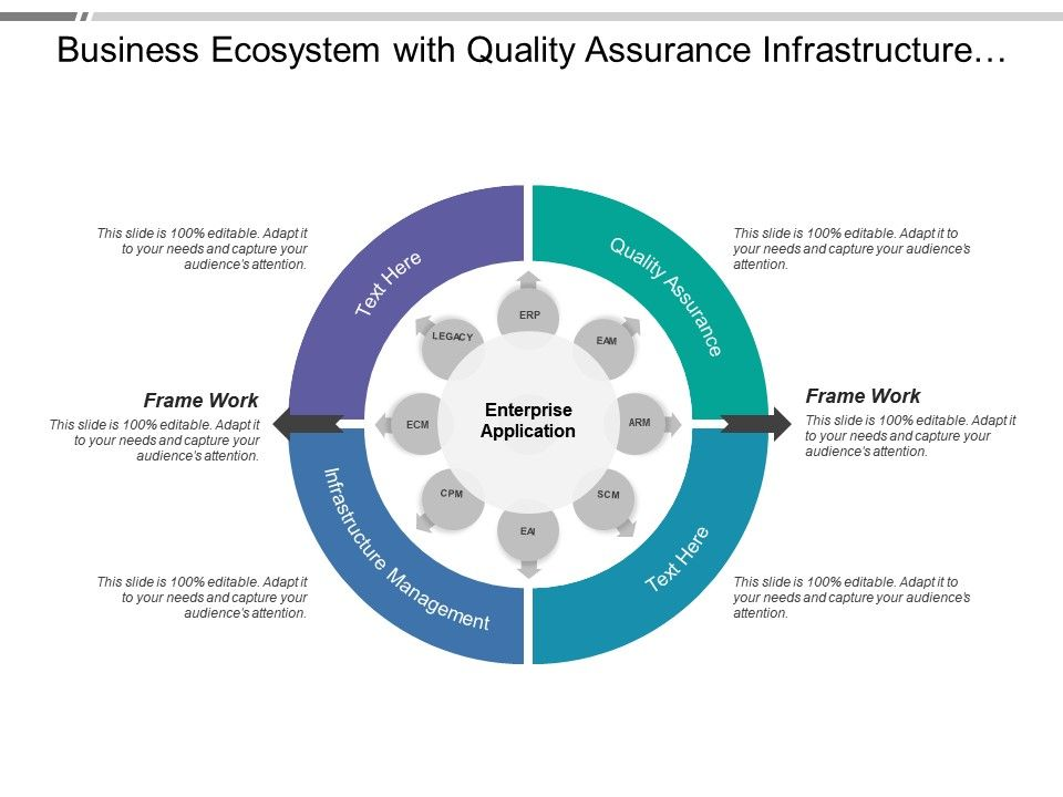 Business Ecosystem With Quality Assurance Infrastructure Management Powerpoint Slides Diagrams Themes For Ppt Presentations Graphic Ideas