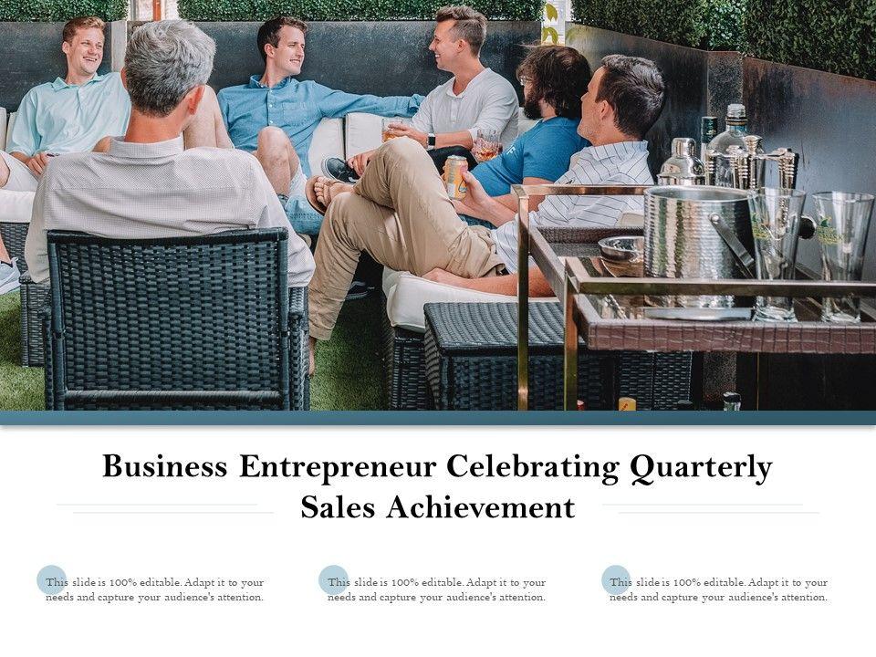 Business Entrepreneur Celebrating Quarterly Sales Achievement