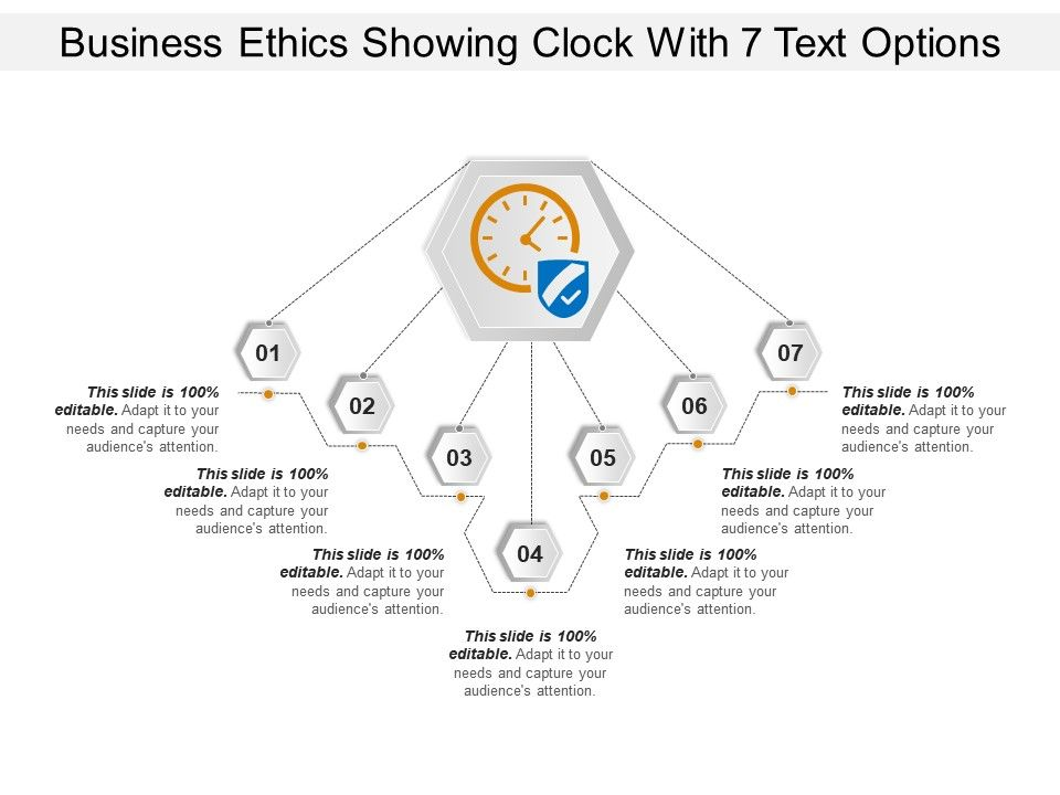 business_ethics_showing_clock_with_7_text_options_Slide01
