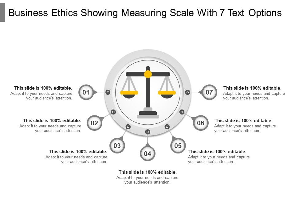 business_ethics_showing_measuring_scale_with_7_text_options_Slide01