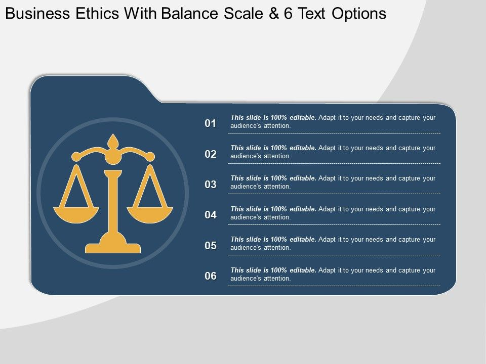 business_ethics_with_balance_scale_and_6_text_options_Slide01