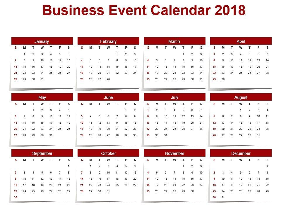 Business Event Calendar 2018 Ppt Slide Templates Powerpoint Slides