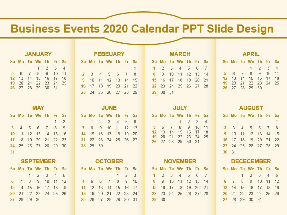 Events Calendar 2020.Business Events 2020 Calendar Ppt Slide Design Templates