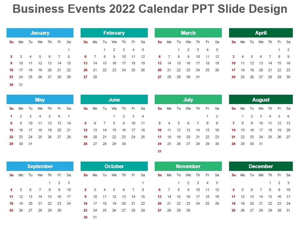 2022 Events Calendar.Business Events 2022 Calendar Ppt Slide Design Powerpoint Templates Backgrounds Template Ppt Graphics Presentation Themes Templates