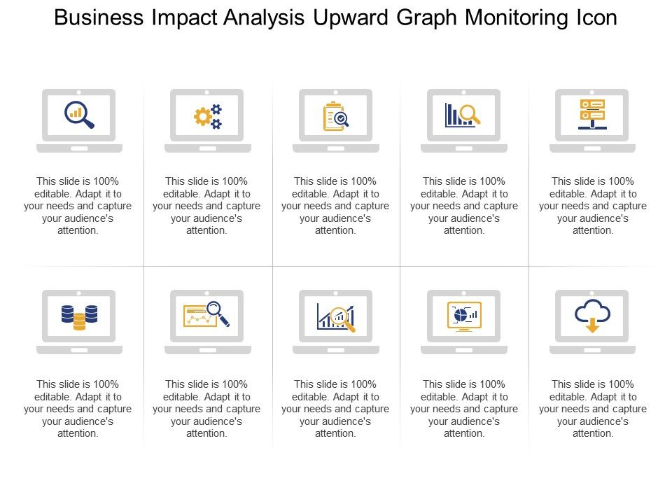 Business Impact Analysis Upward Graph Monitoring Icon  Presentation