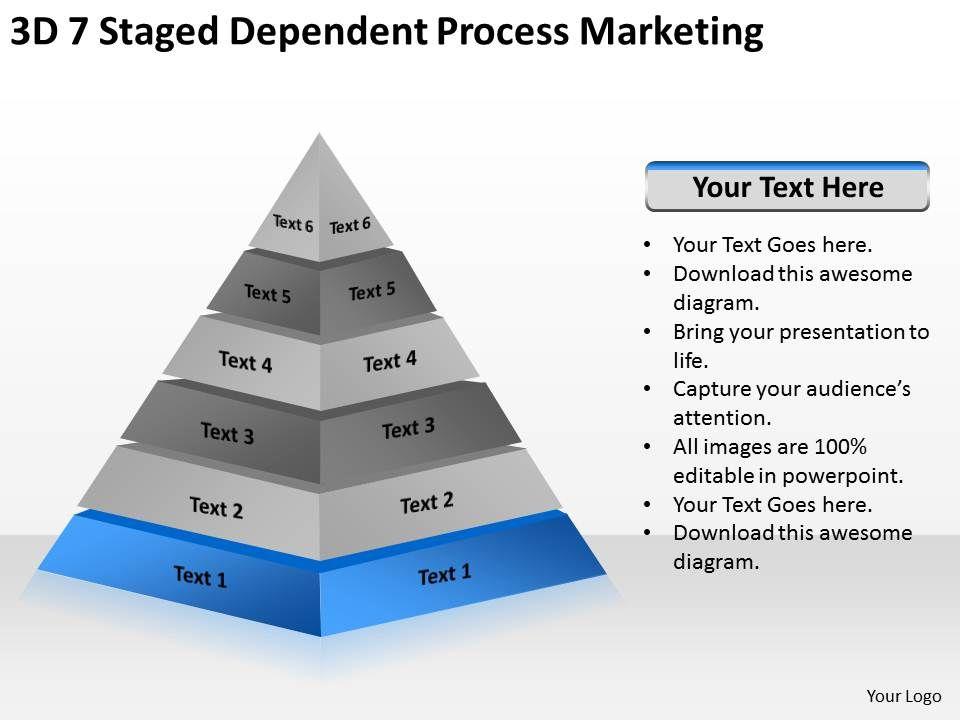business logic diagram 3d 7 staged dependent process. Black Bedroom Furniture Sets. Home Design Ideas