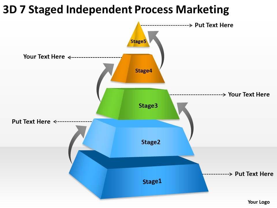 business logic diagram 3d 7 staged independent process. Black Bedroom Furniture Sets. Home Design Ideas