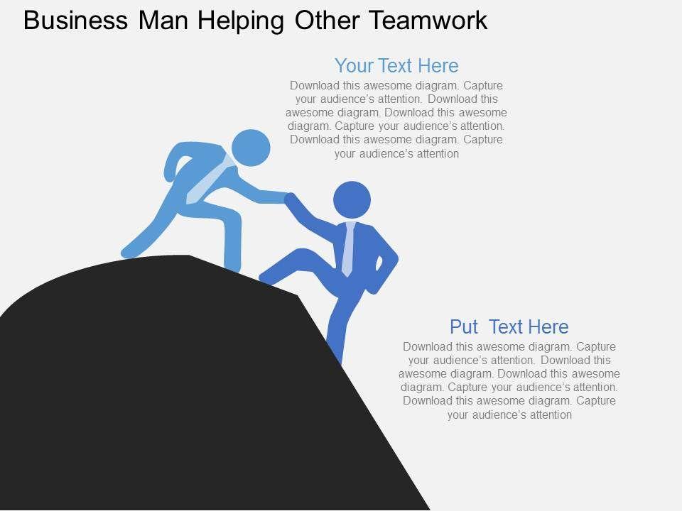 business_man_helping_other_teamwork_flat_powerpoint_design_Slide01