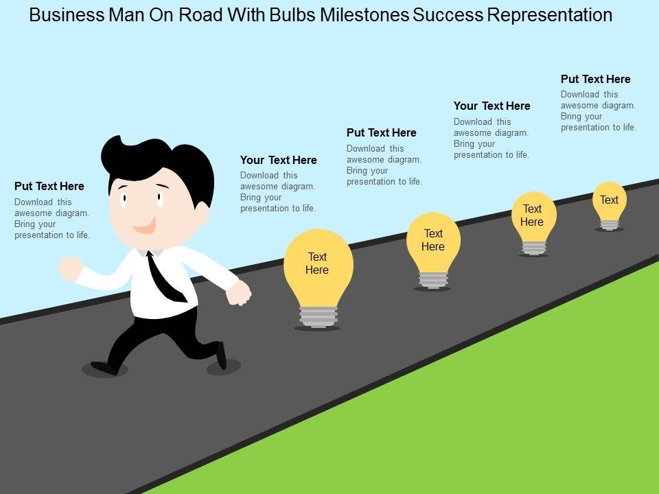 Business Man On Road With Bulbs Milestones Success Representation