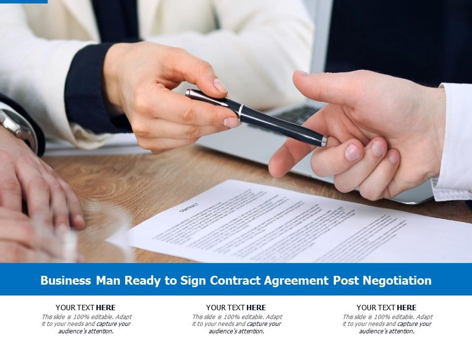 Business Man Ready To Sign Contract Agreement Post Negotiation