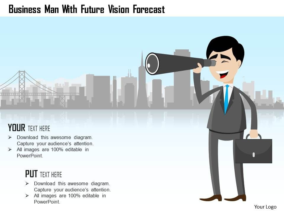 business man with future vision forecast powerpoint template, Presentation templates