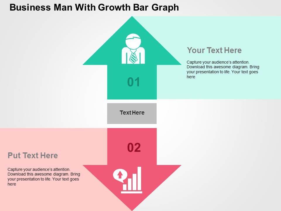 business_man_with_growth_bar_graph_flat_powerpoint_design_Slide01