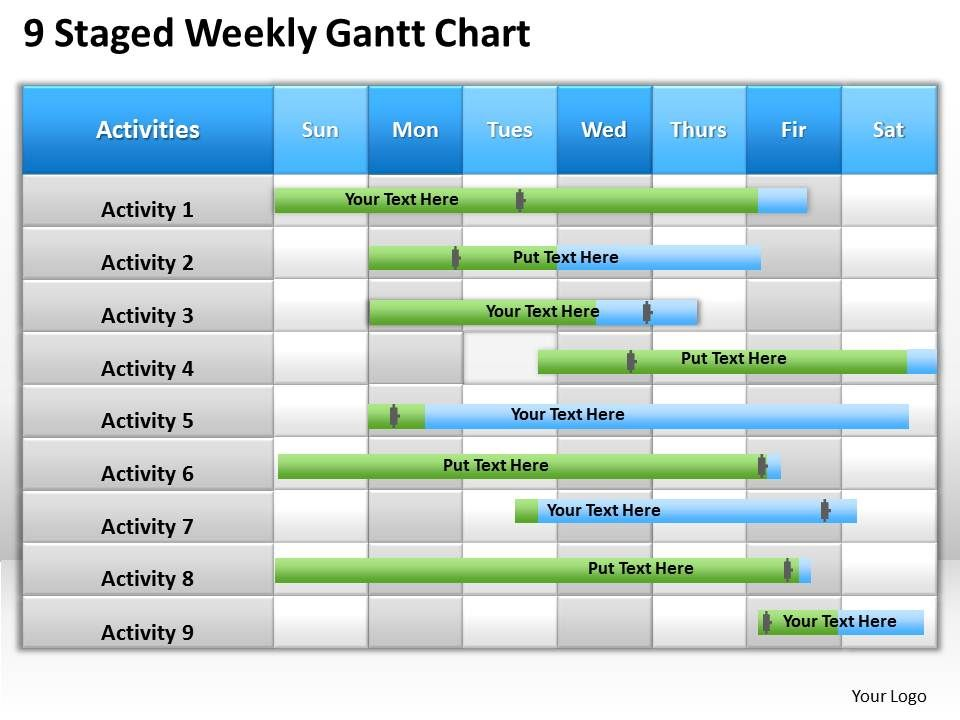 Business Management Consultant Weekly Gantt Chart Powerpoint ...