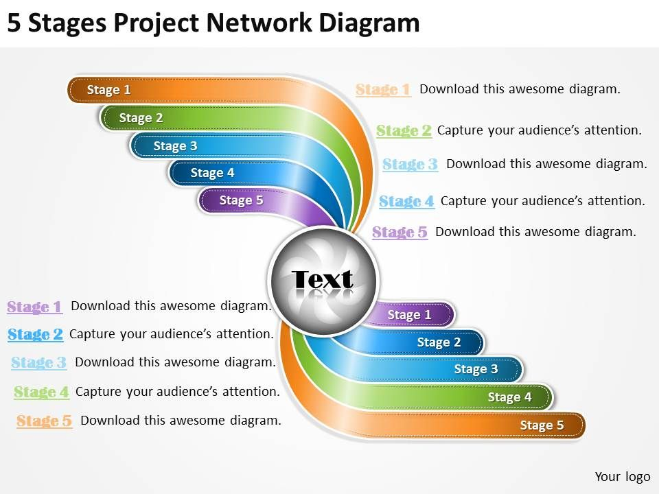 business_management_consultants_5_stages_project_network_diagram_powerpoint_slides_Slide01