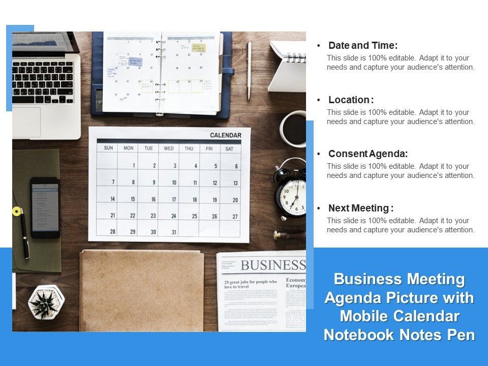 Business Meeting Agenda Picture With Mobile Calendar